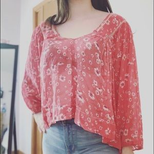 Free People Red Floral Popover Oversized Top Sz S